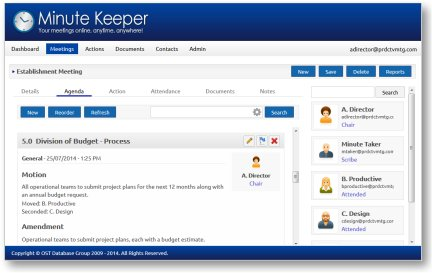 Minute Keeper (Web) - Meeting Management Software
